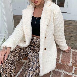Cream button teddy jacket
